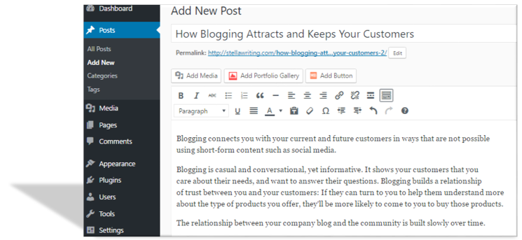 Blogging can be an important part of the content marketing strategy that StellaWriting LLC develops for your company.